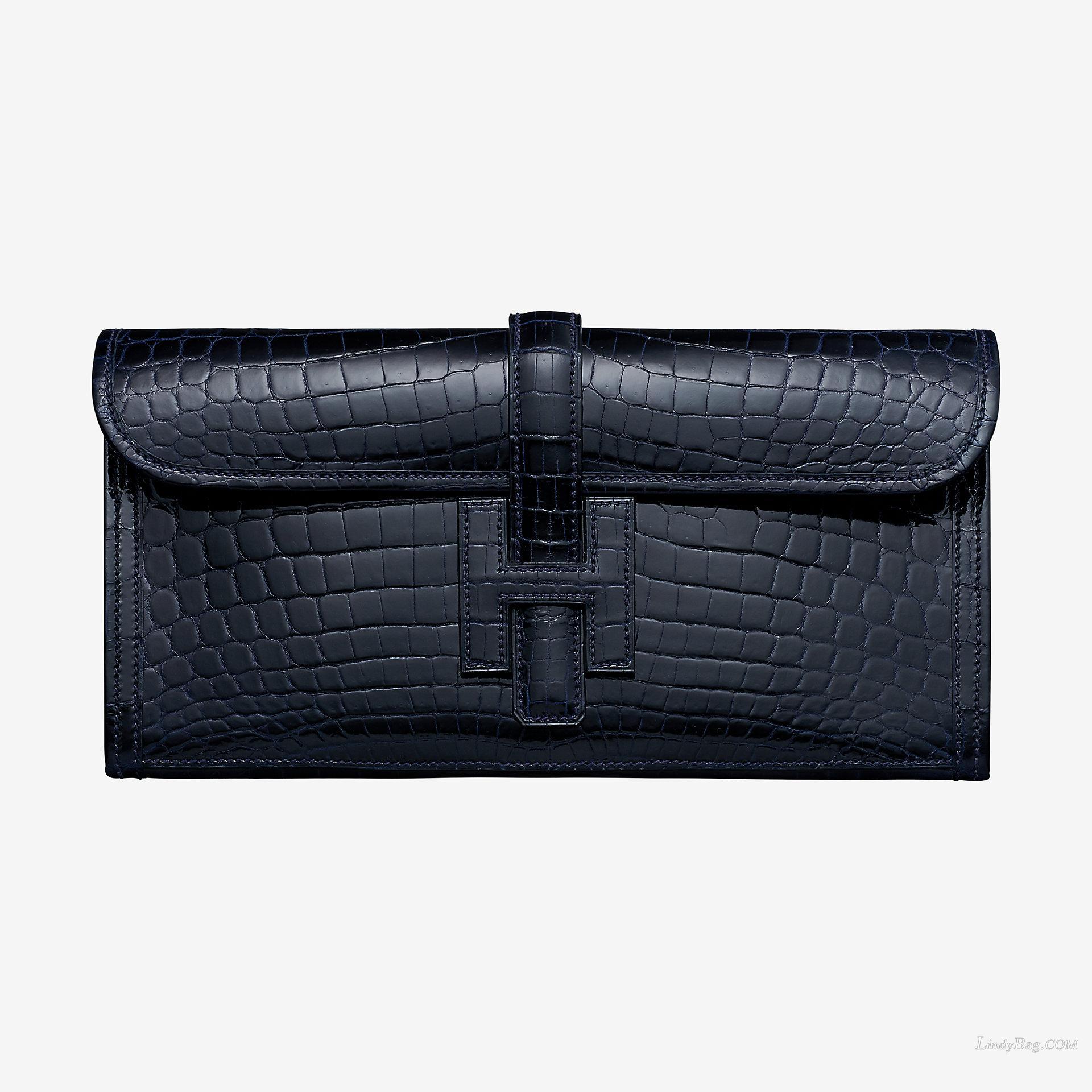 Hermes Jige Elan 29 clutch CA78 bleu marine crocodile leather