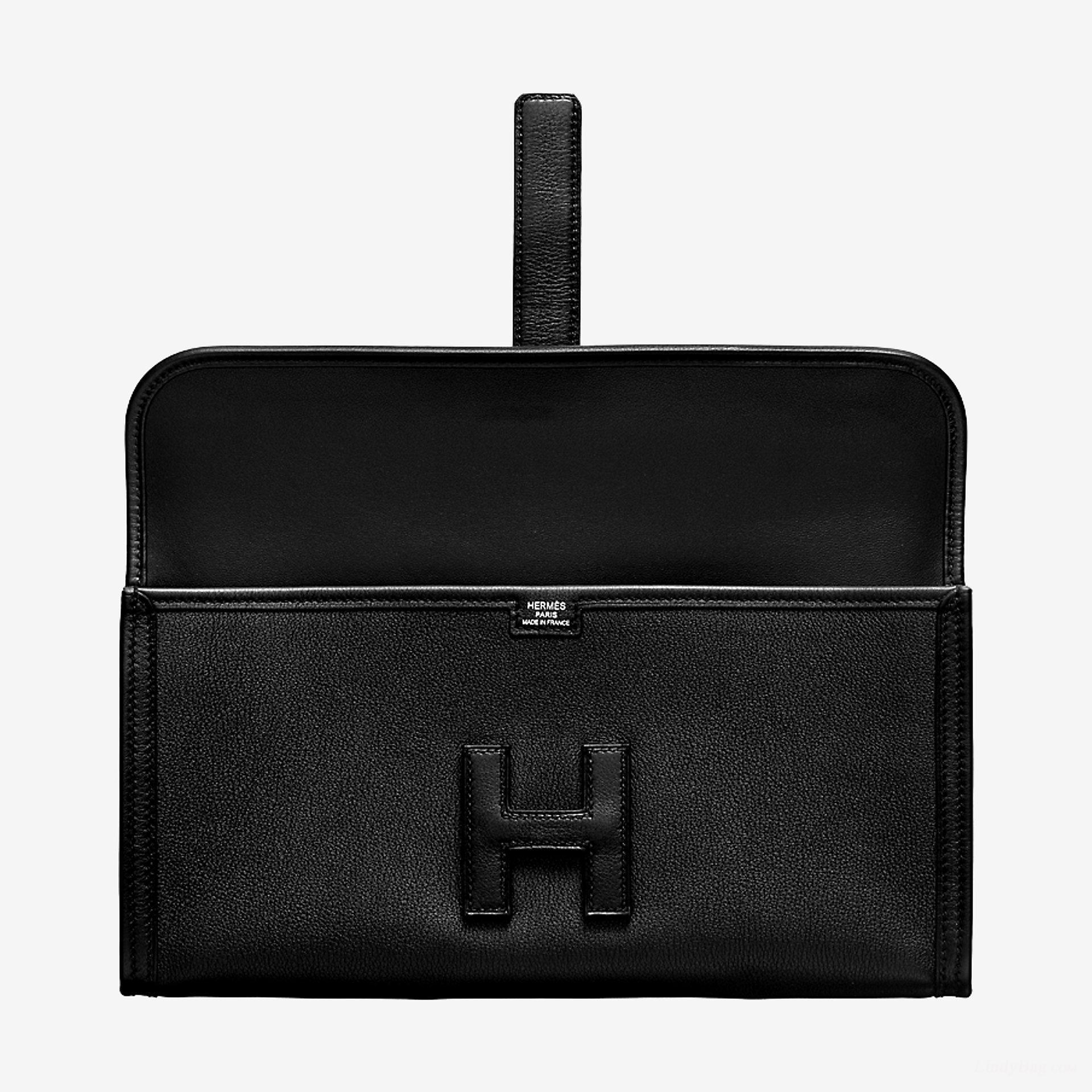 Hermes Jige Elan 29 clutch CA89 noir Swift calfskin