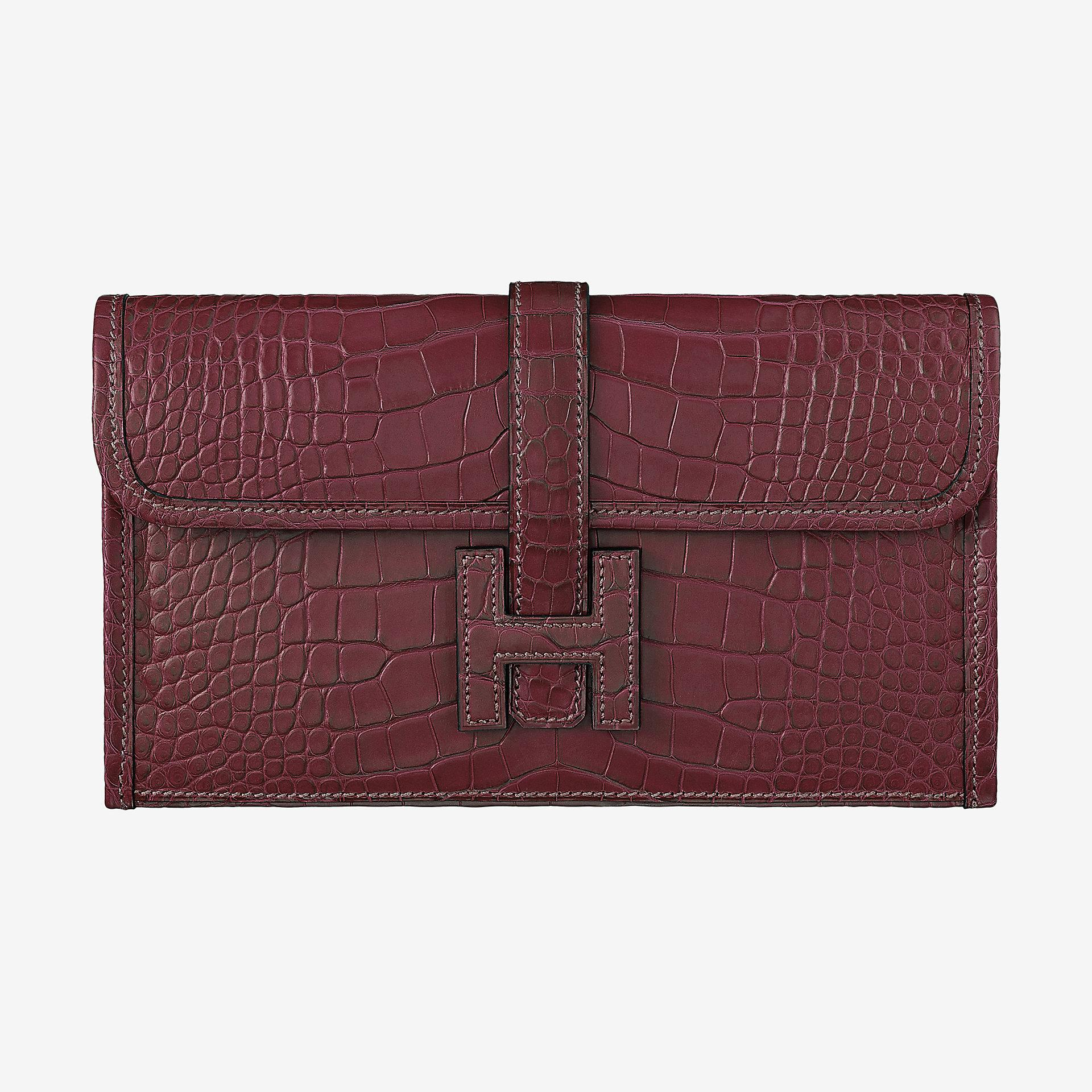 臺灣臺北市 Hermes Jige Duo wallet CA57 bordeaux alligator