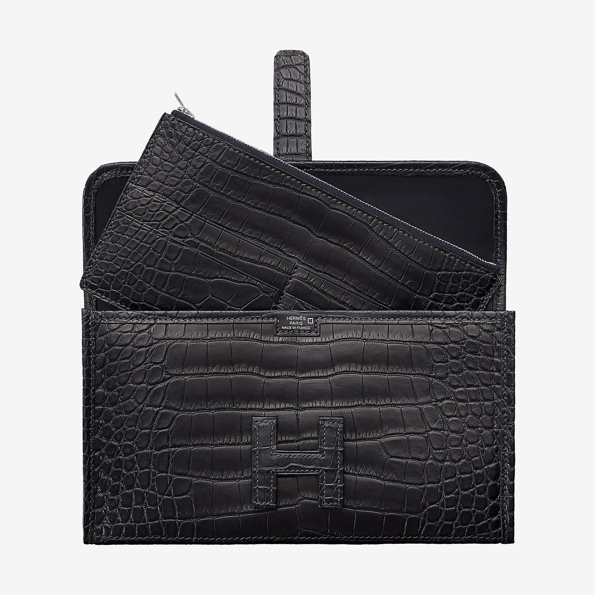臺灣臺南市 Hermes Jige Duo wallet CA76 bleu indigo alligator
