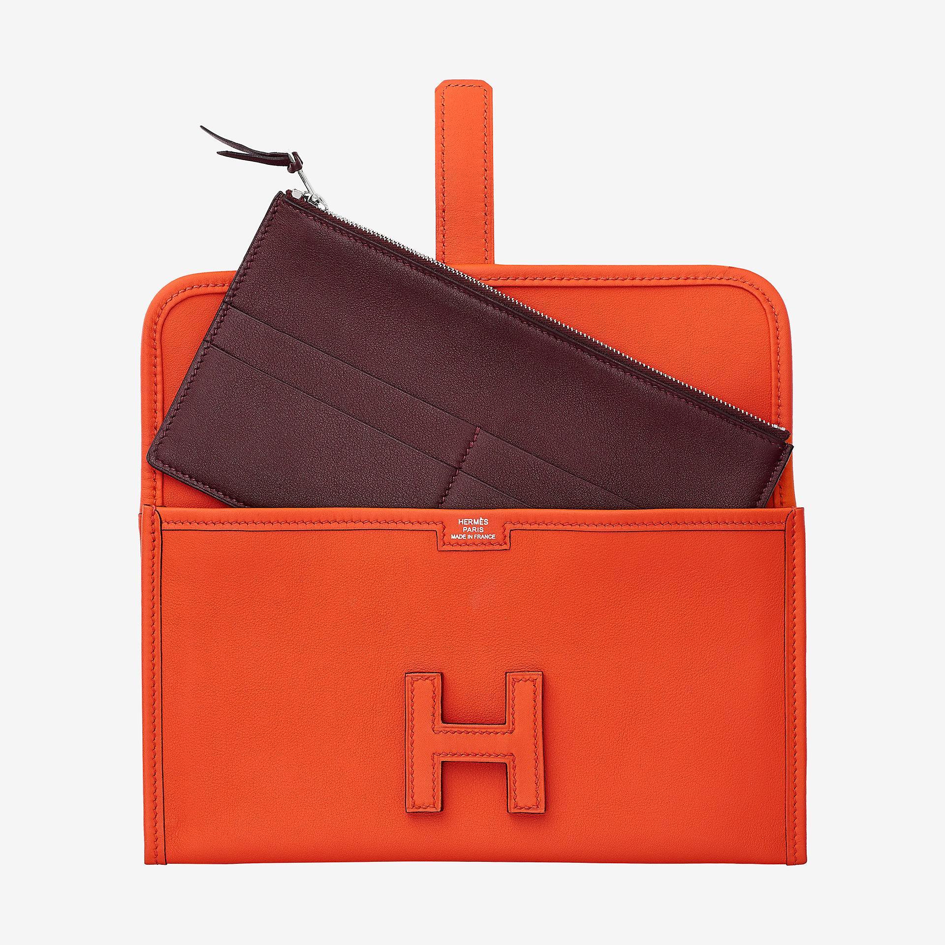 Hermes Jige Duo verso wallet CAAB orange poppy bordeaux Swift