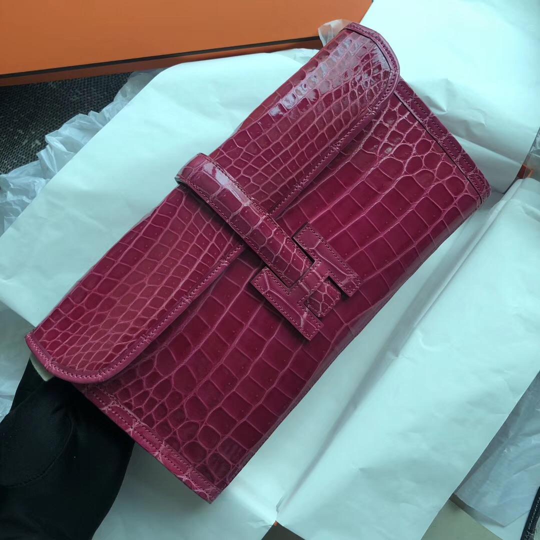 香港油尖旺區 Hermes Jige Elan 29 clutch E5 Rose Tyrien nilo crocodile