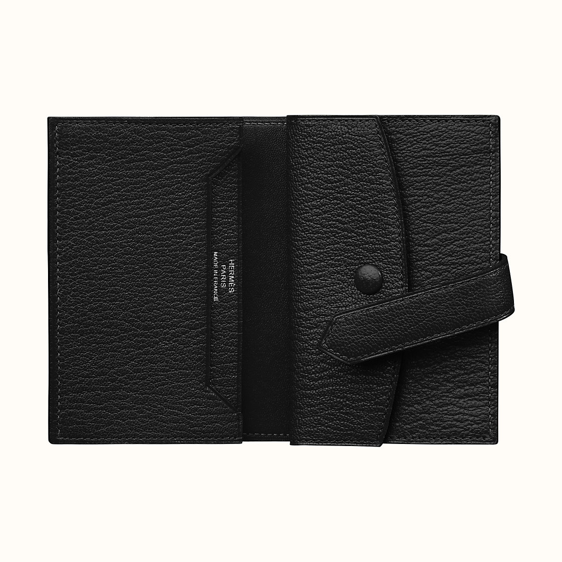 臺灣新竹縣愛馬仕錢包 Hermes Bearn mini wallet CK89 Noir 山羊皮