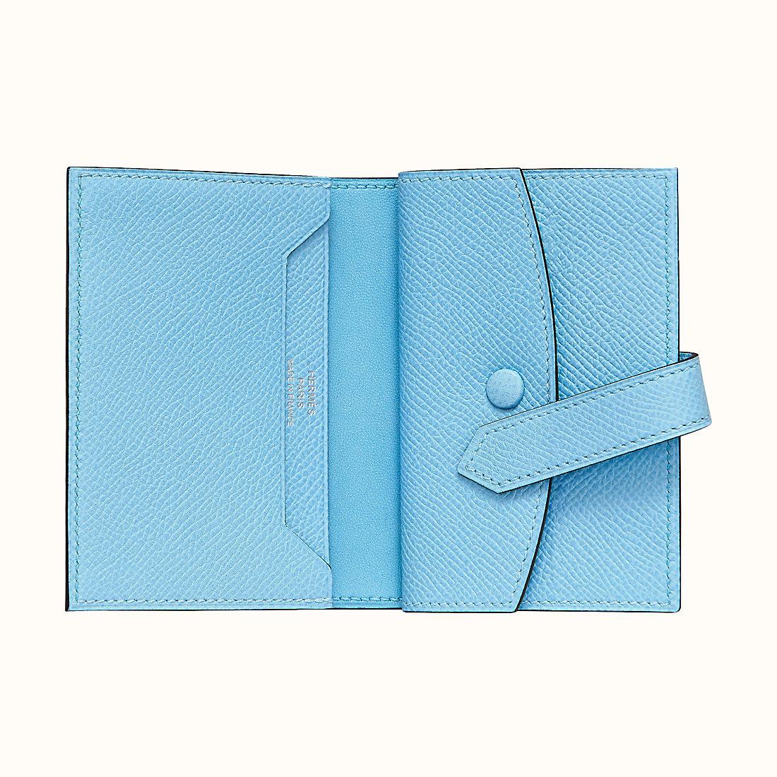 臺灣宜蘭縣愛馬仕短錢包尺寸 Hermes Bearn mini wallet CK7N Céleste 天藍色