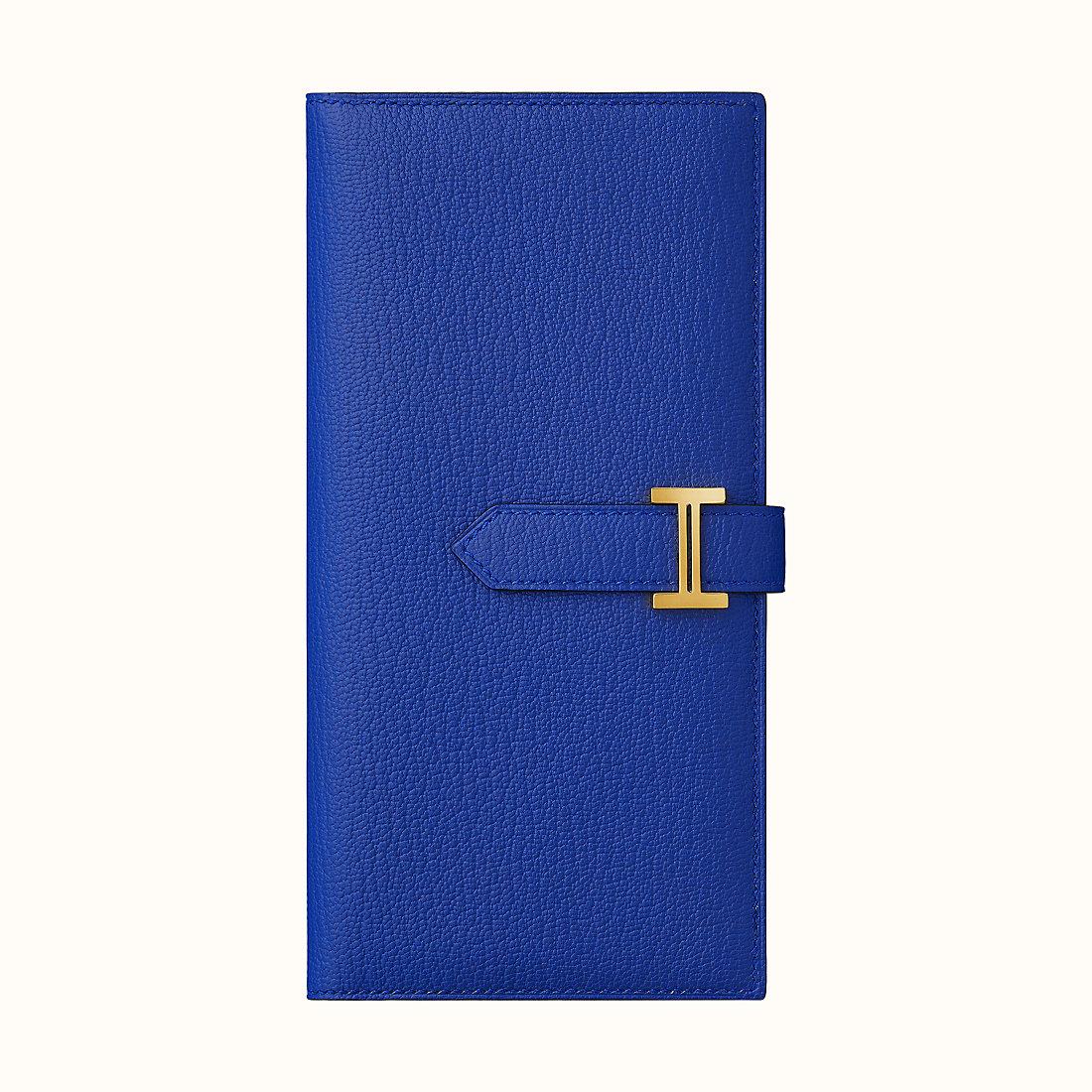 香港深水埗區愛馬仕錢包價格 Hermes Bearn wallet CC7T Bleu Électrique 山羊皮