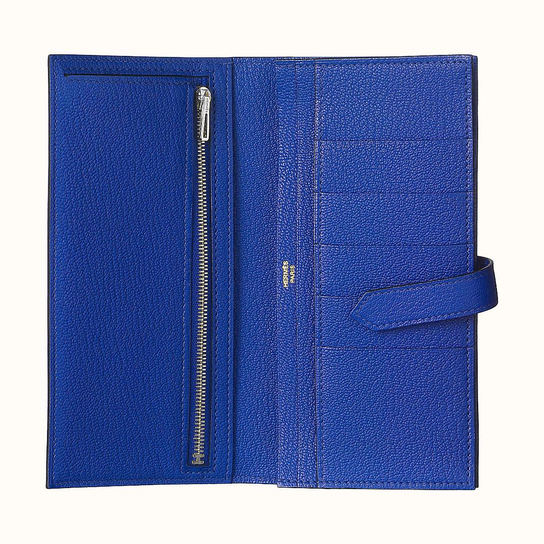 臺灣臺中市 Hermes Bearn wallet CK7T Bleu Électrique 電光藍 山羊皮