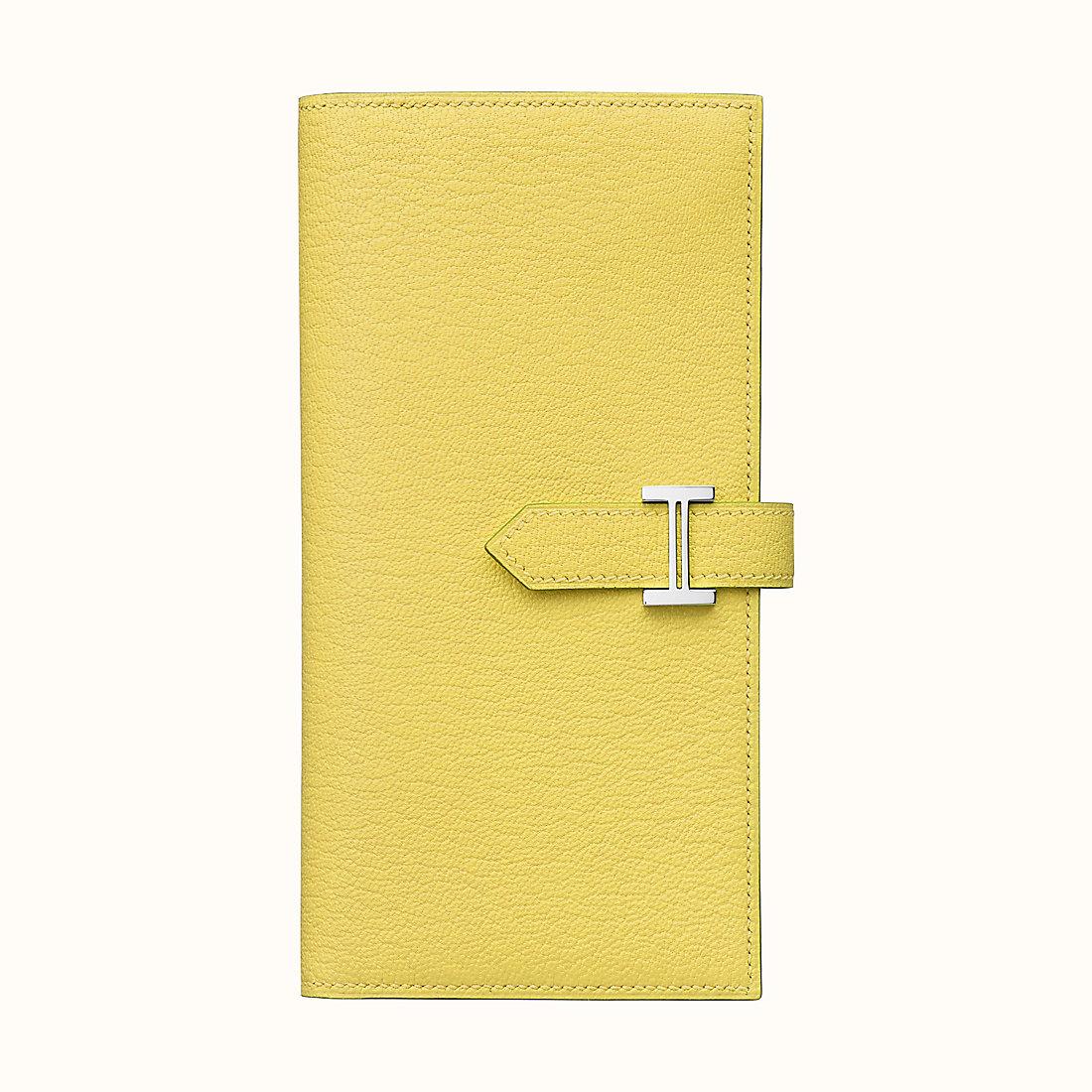 臺灣臺中市愛馬仕長款錢包 Hermes Bearn wallet CK9R Lime 檸檬黃山羊皮