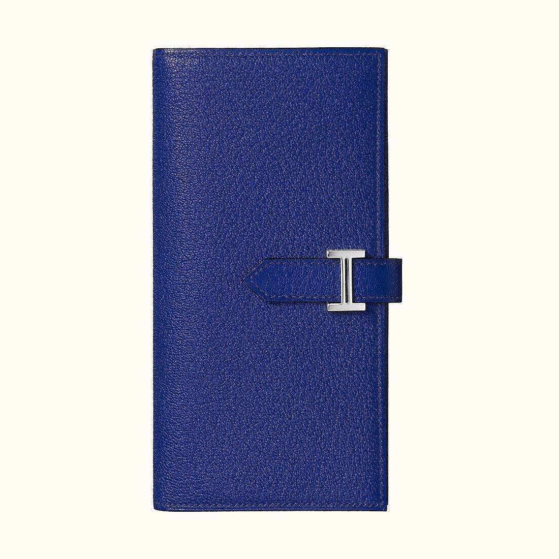 臺灣臺南市 Hermes Bearn wallet CKM3 Bleu Encre 墨水藍山羊皮
