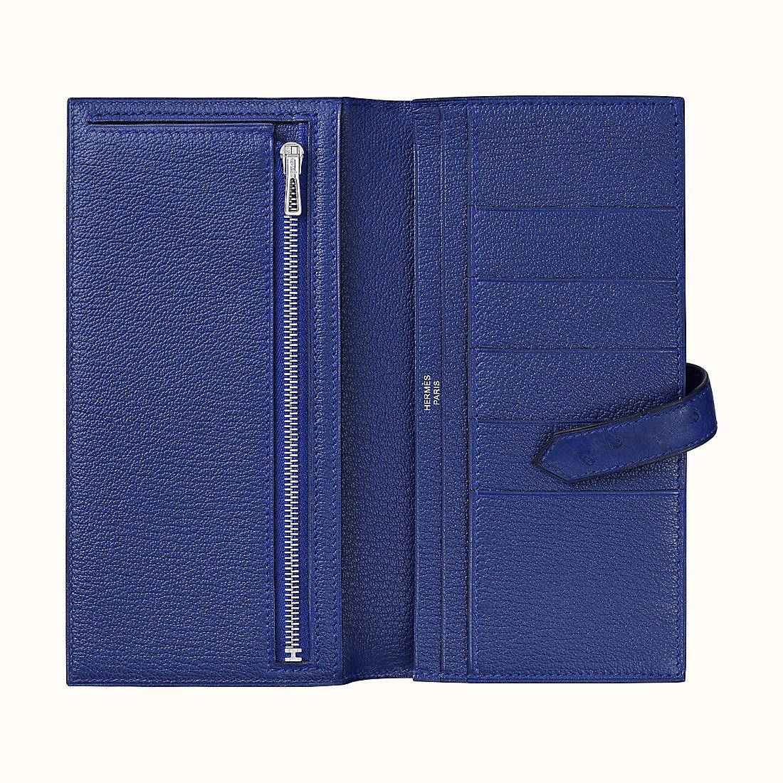 桃園縣愛馬仕鴕鳥皮錢包 Hermes Bearn wallet Ostrich CK7Q Mykonos