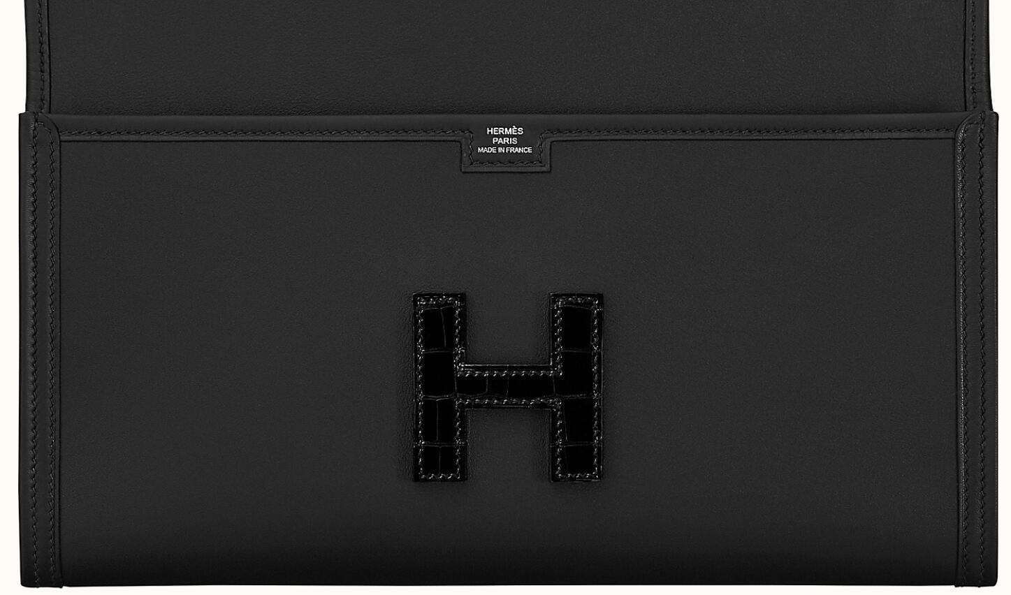 Hermes Jige Elan 29 touch clutch Noir/Noir Swift calfskin