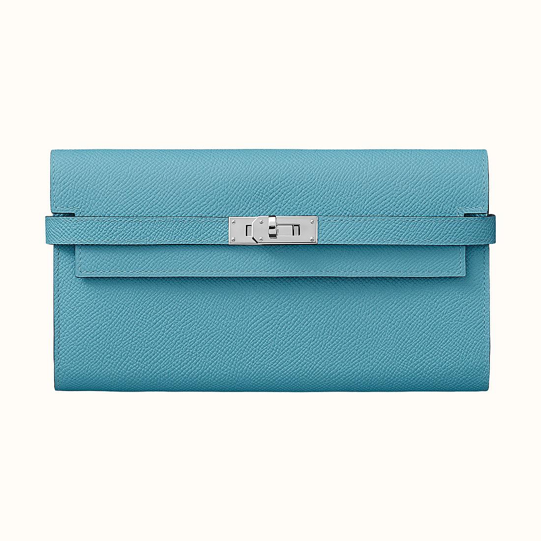 臺灣新竹市 Hermes Kelly classic verso wallet Bleu Du Nord/Rouge De Cœur