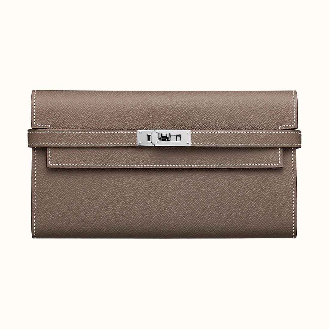 Hermes Kelly classic wallet CK18 Étoupe 大象灰 Epsom calfskin