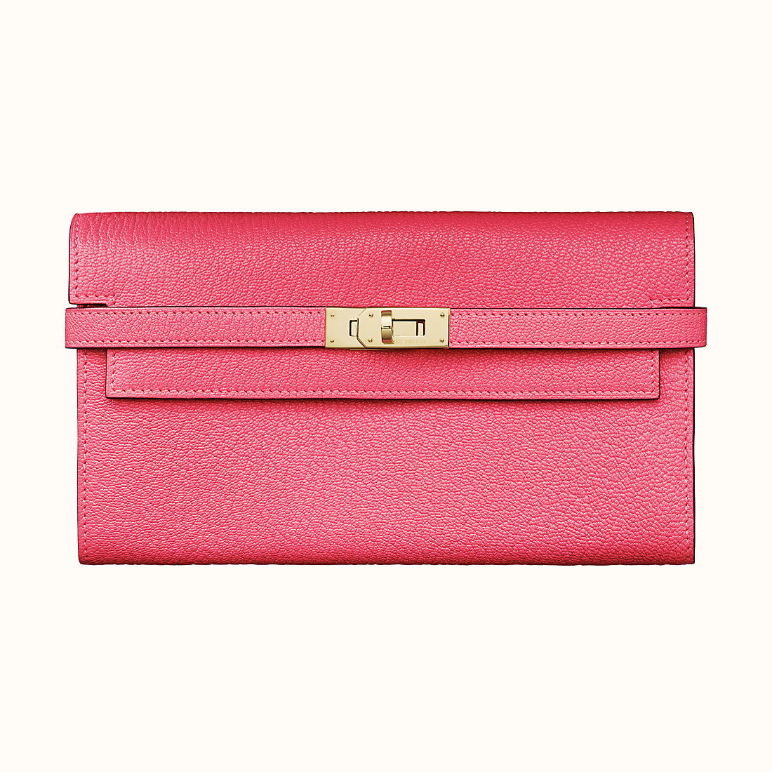 Hermes Kelly classic wallet CCU5 Rose Lipstick 唇膏粉 山羊皮