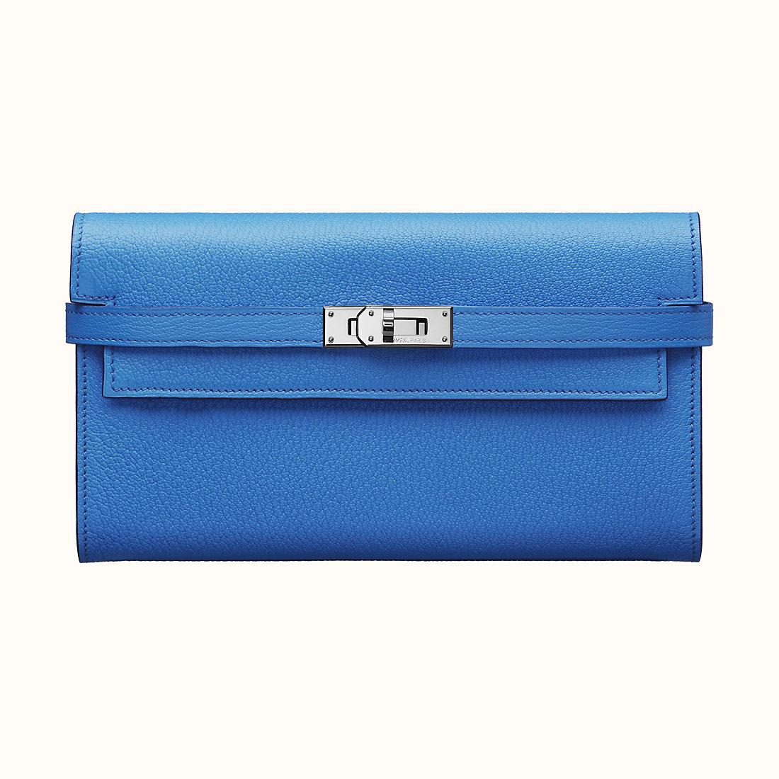 Hermes Kelly classic wallet CKB3 Bleu Zanzibar 坦桑尼亞藍 山羊皮