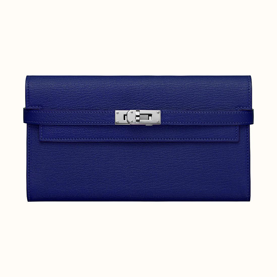 臺灣金門縣 Hermes Kelly classic wallet CKM3 Bleu Encre 墨水藍 山羊皮