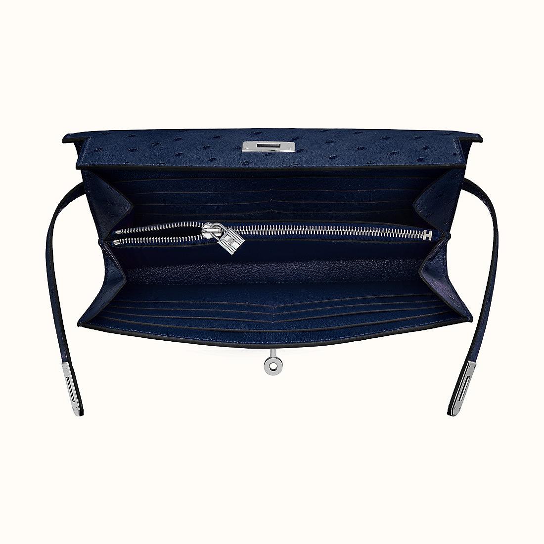 香港油尖旺區愛馬仕 Hermes Kelly classic wallet CK77 Bleu Iris鳶尾藍