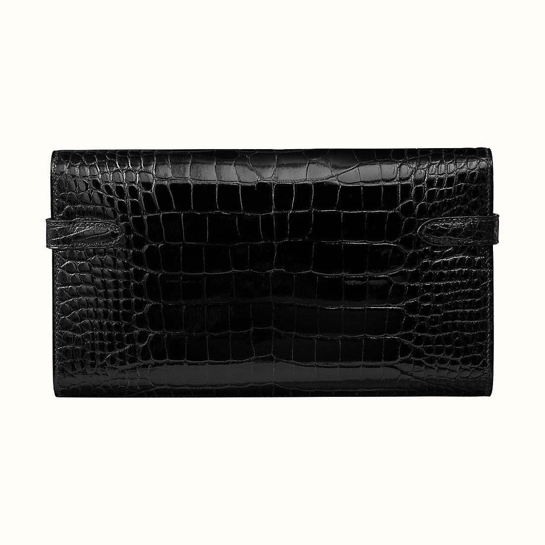 臺灣新竹市 Hermes Kelly Classic wallet alligator CC89 Noir