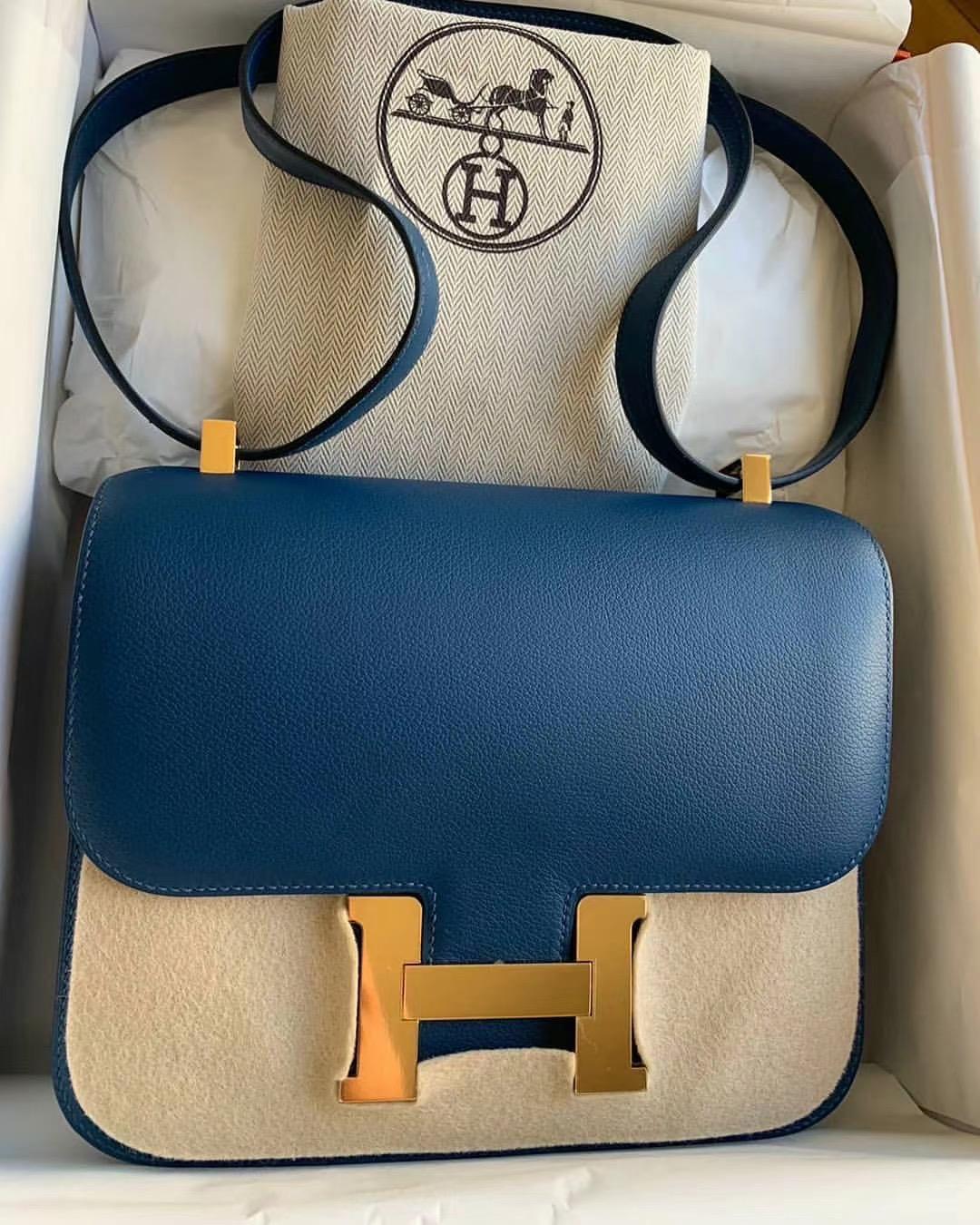 Hong Kong Hermes Constance 24cm Evercolor S4 Deep Blue 深邃藍