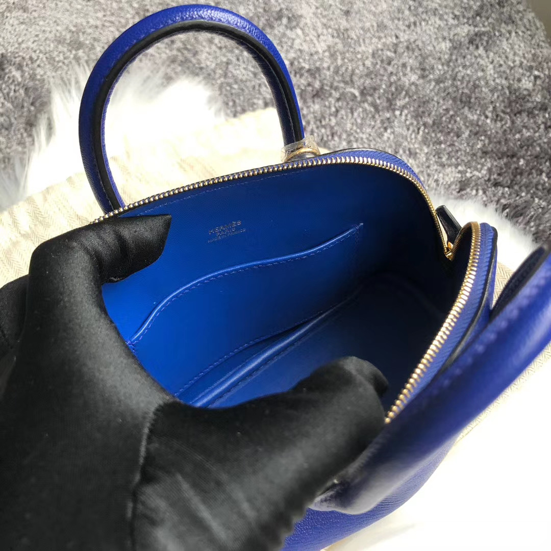 Macao Hermes mini bolide 20cm Chevre 山羊皮 7T 電光藍 Blue Electric