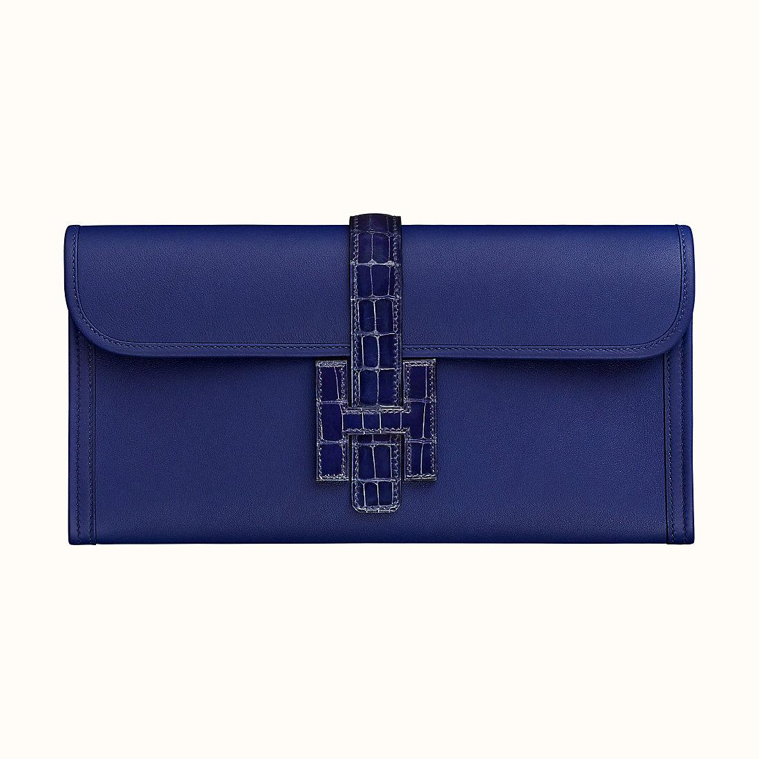 Hermes Jige Elan 29 touch clutch Bleu Encre Swift calfskin