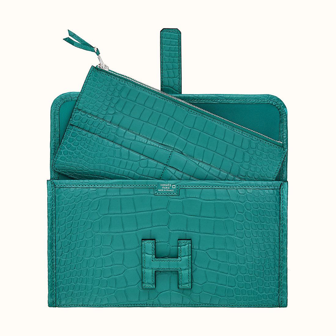 臺灣臺南市愛馬仕長款錢包 Hermes Jige Duo wallet CA7F Bleu Paon