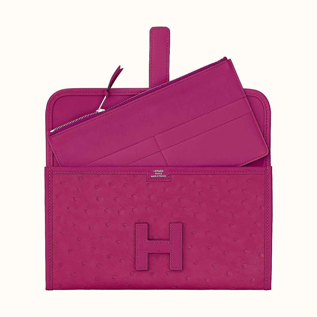 愛馬仕鴕鳥皮長款錢包 Hermes Jige Duo wallet L3 Rose Pourpre 玫瑰紫
