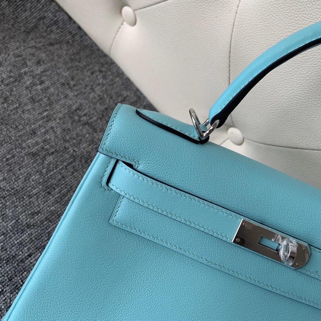 臺北市文山區 愛馬仕凱莉包專櫃價格 Hermes Kelly 28cm Evercolor 3P Blue Atoll