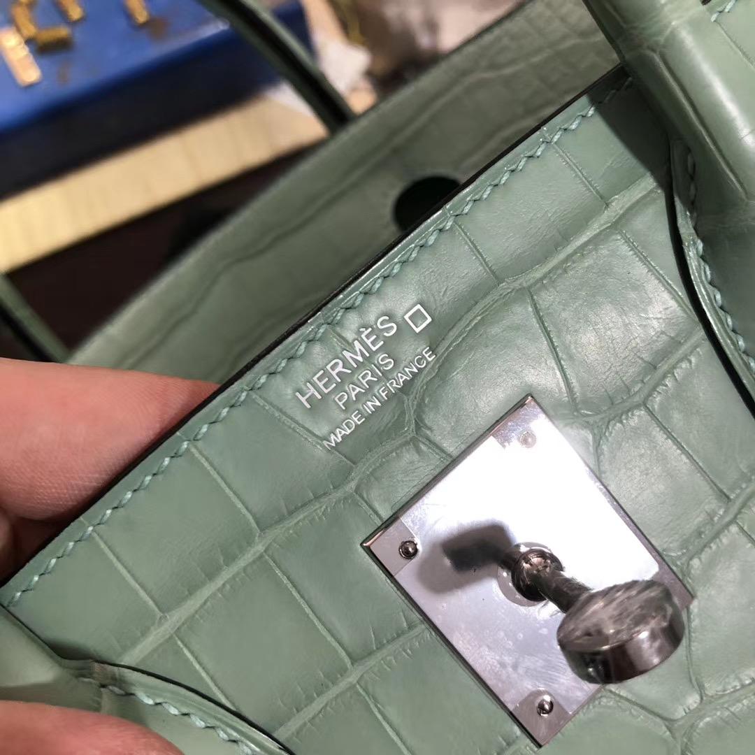新北市三峽區愛馬仕鉑金包 Hermes Birkin 30cm 6U mint green 薄荷綠美洲鱷