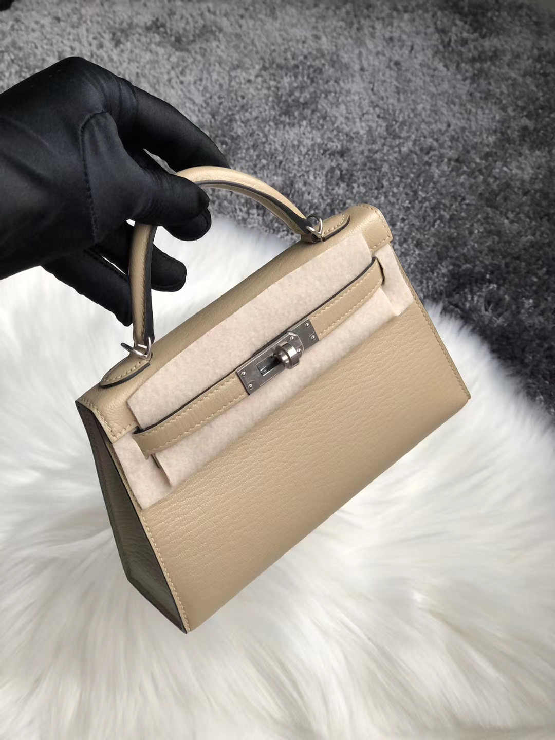 臺灣新北市永和區 Hermes Kelly Mini II Handbag Chevre S2 Trench 風衣灰