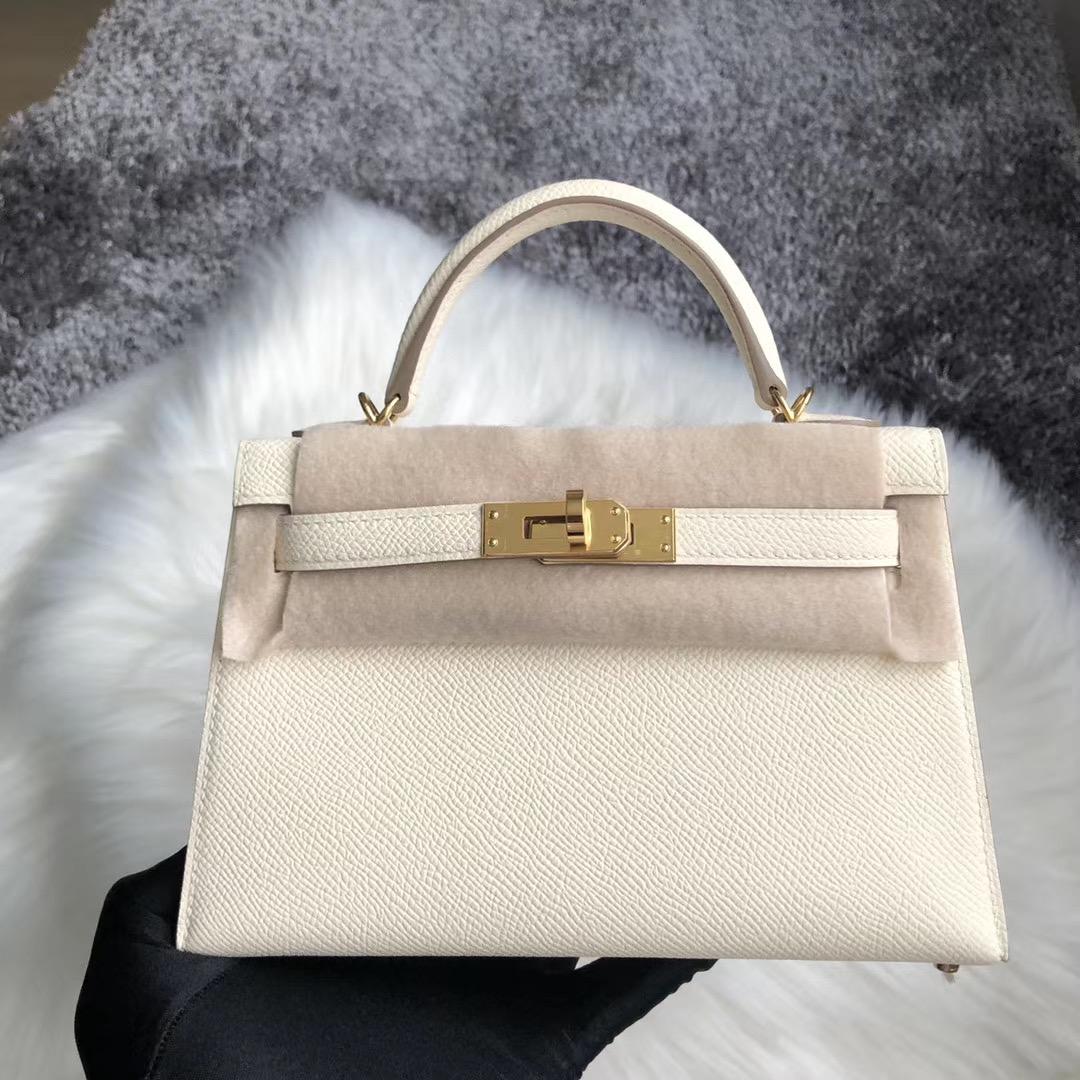 Taiwan Hermes Kelly Mini II Handbag 8L奶油白 Beton 10奶昔白 Craie