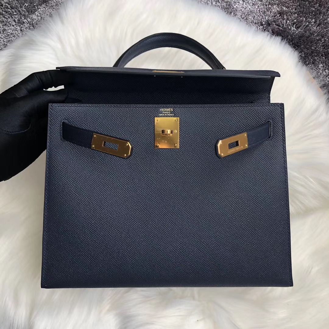 臺灣新北市坪林區 Hermes Kelly 28cm Handbag CC76深海藍 Blue Indigo
