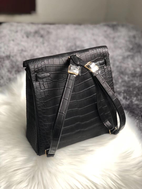 Taiwan Hermes Kelly Ado Backpack Black Matte Nilo Crocodile