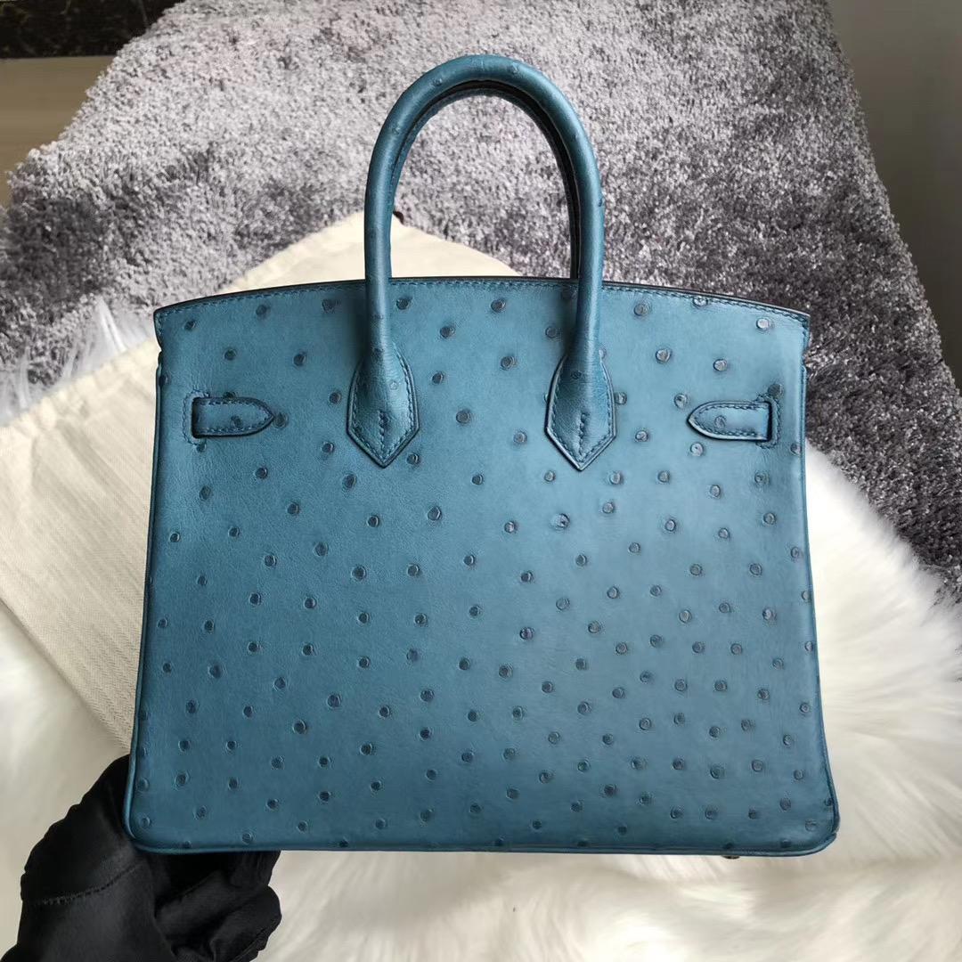 臺灣臺中市北屯區 Hermes Birkin 25cm Ostrich 7C Blue Cobalt 珊瑚藍