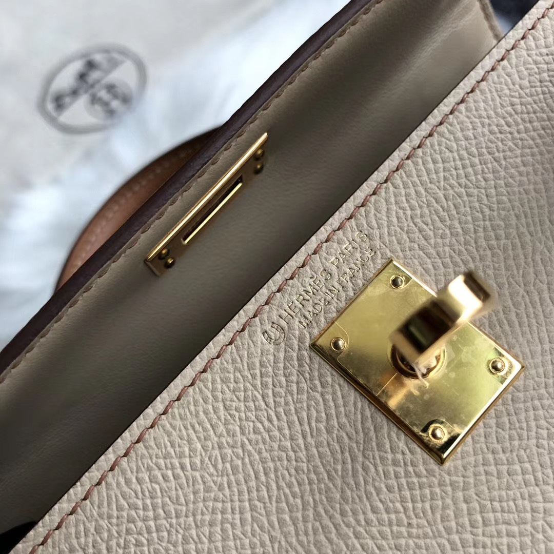 Hermes Kelly Mini II Handbag HSS S2 Trench 风衣灰 CC37 gold 金棕色