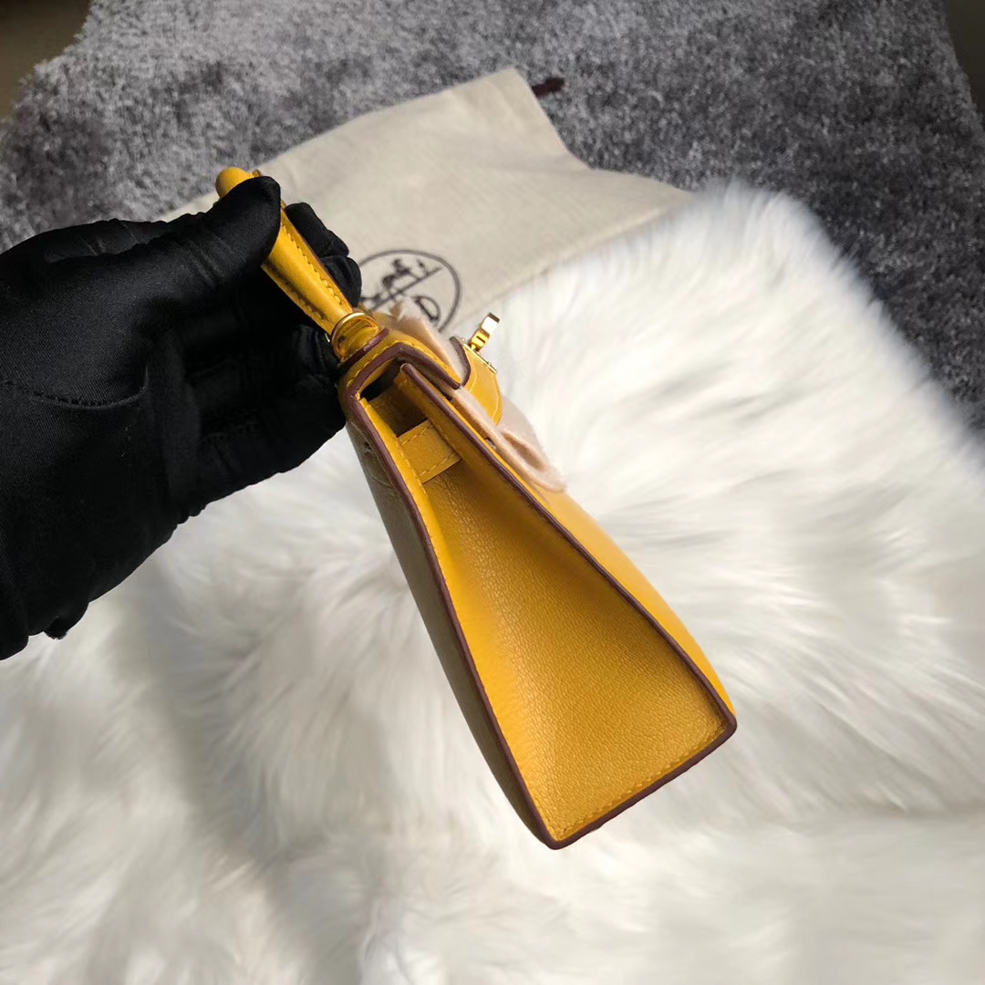 臺灣新北市新店區 Hermes Kelly Mini 2代 Chevre 9D Amber 琥珀黃