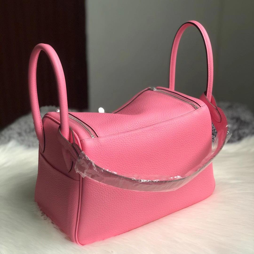 澳門半島美副將大馬路 Macao Hermes Lindy 26cm Clemence 5P Pink 櫻花粉 CK10 Craie
