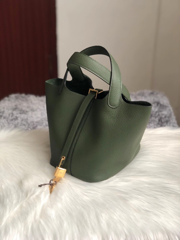 香港沙田區火炭愛馬仕菜籃子價格 Hermes Picotin Lock 18cm 6H Olive green 橄欖綠