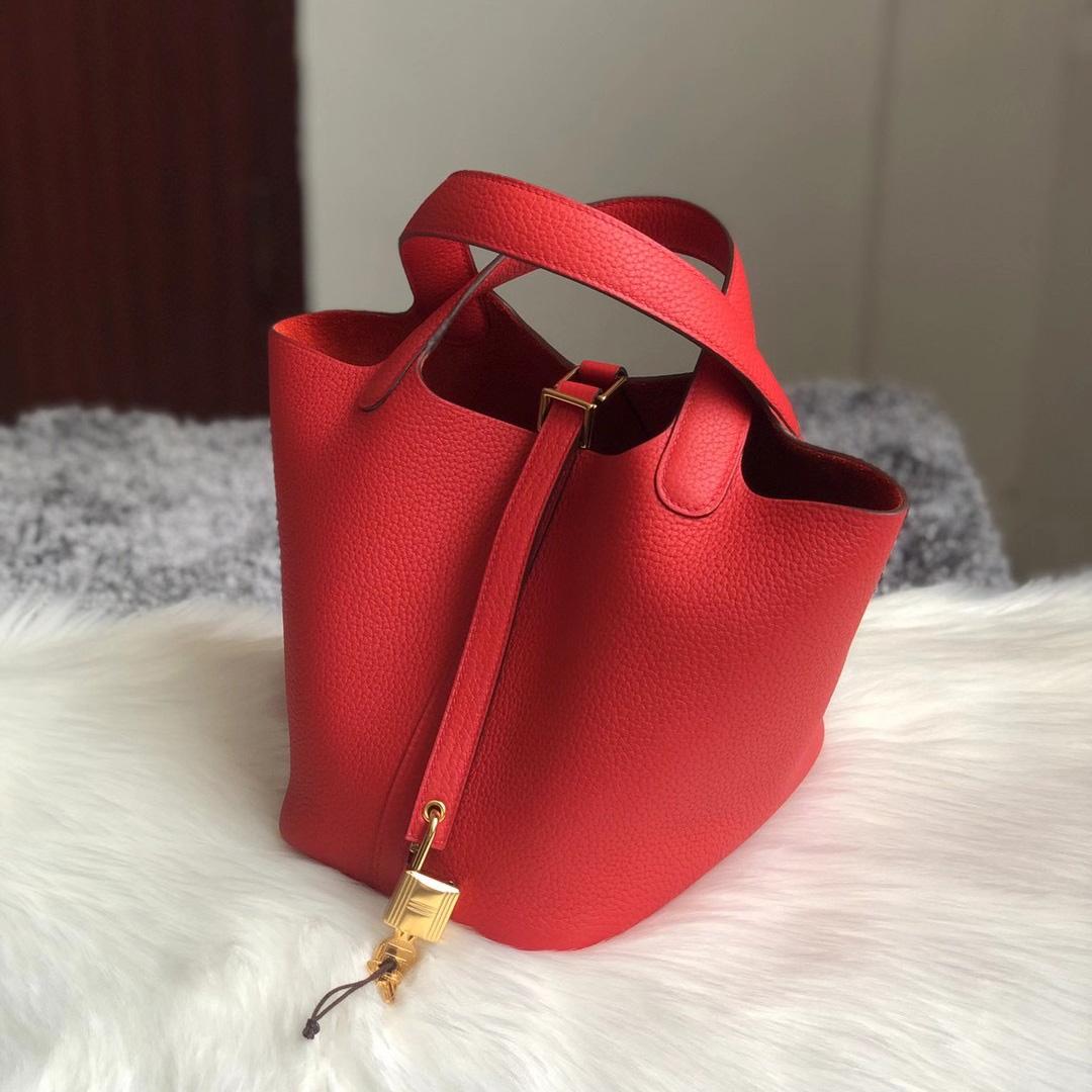 香港九龍城區黃埔 愛馬仕菜籃子18寸 Hermes Picotin Lock 18 S3 Rose de coeur 心紅色