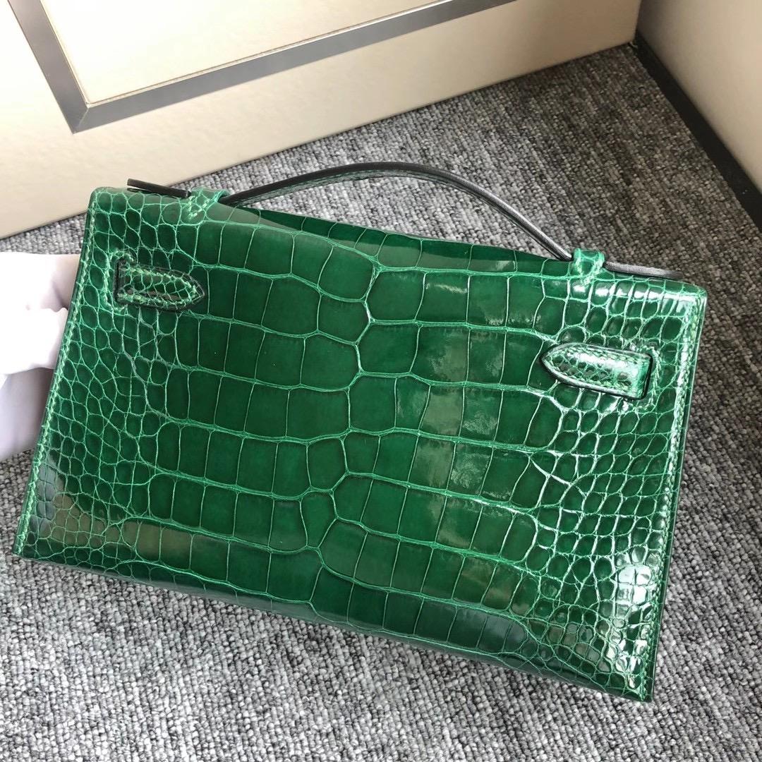 香港南區赤柱愛馬仕晚宴包多少錢Hermes MiniKelly Pochette 6O松柏綠Vert Cypres 美洲鱷