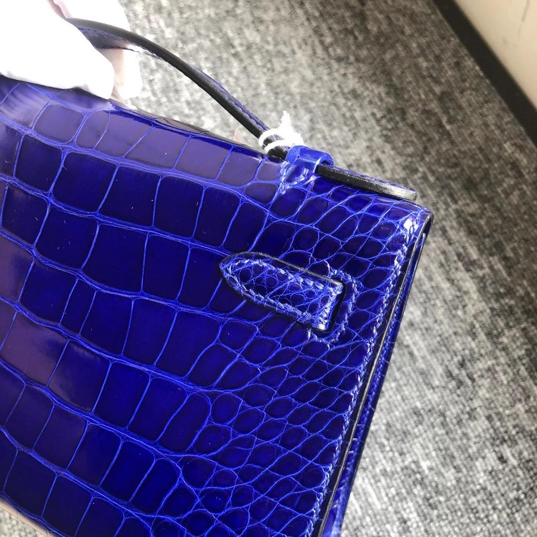 香港南區深水灣愛馬仕多少錢 Hermes MiniKelly Pochette 7T Blue Electric 電光藍