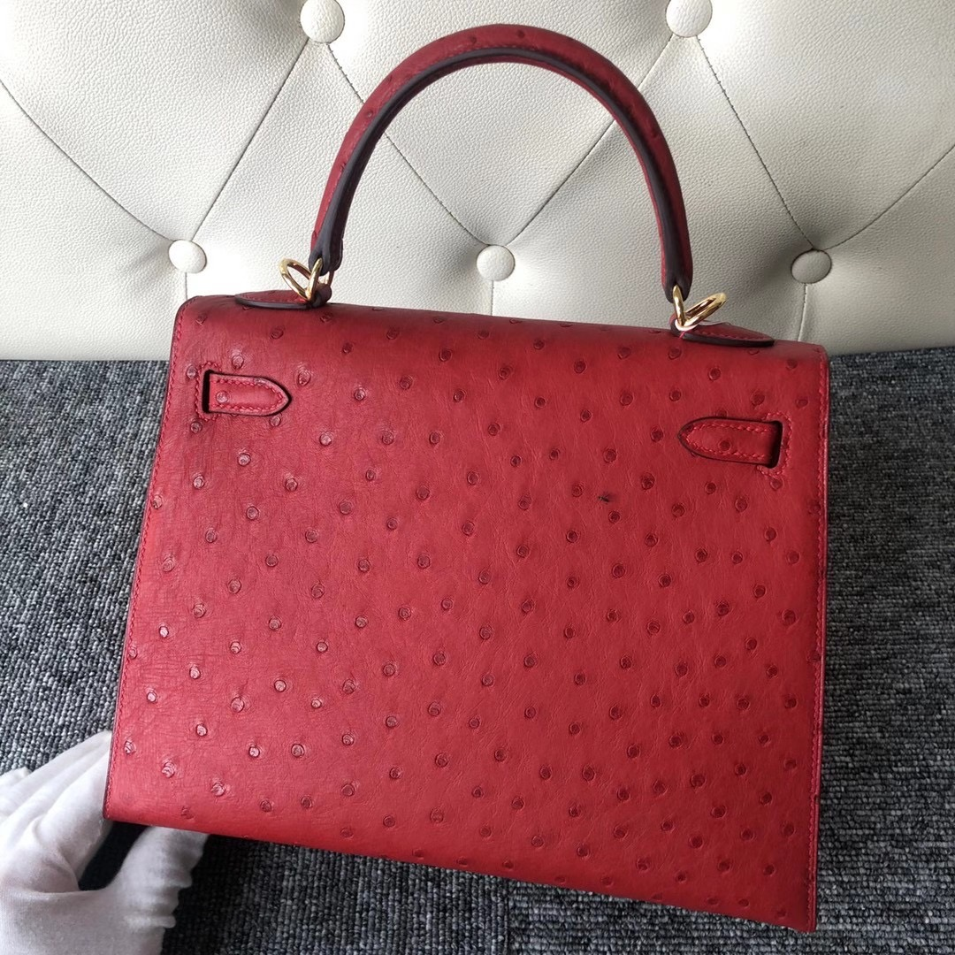 香港深水埗區深水埗愛馬仕 Hermes Kelly 25cm Ostrich Q5 Rose casaque
