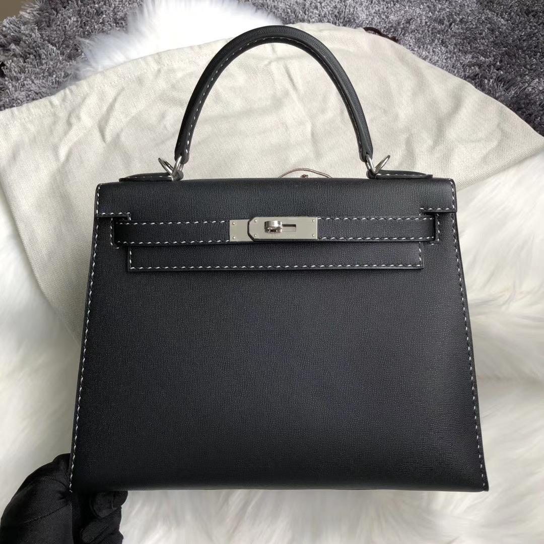 新北市淡水區 Taiwan Hermes Kelly 28cm Graine Monsieur 89 black 黑白線