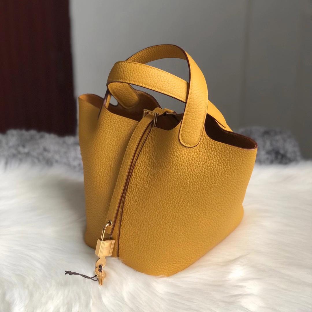 香港荃灣區深井 愛馬仕菜籃子18香港價格 Hermes Picotin Lock 18 9D Amber