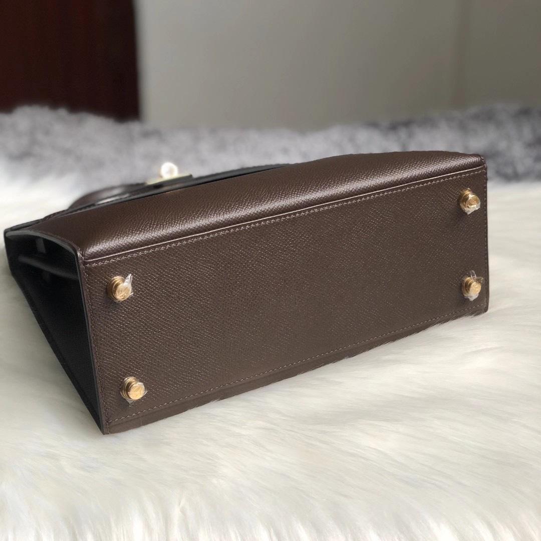 香港深水埗區長沙灣 愛馬仕凱莉包 Hermes Kelly 25cm CC47 chocolate 巧克力色