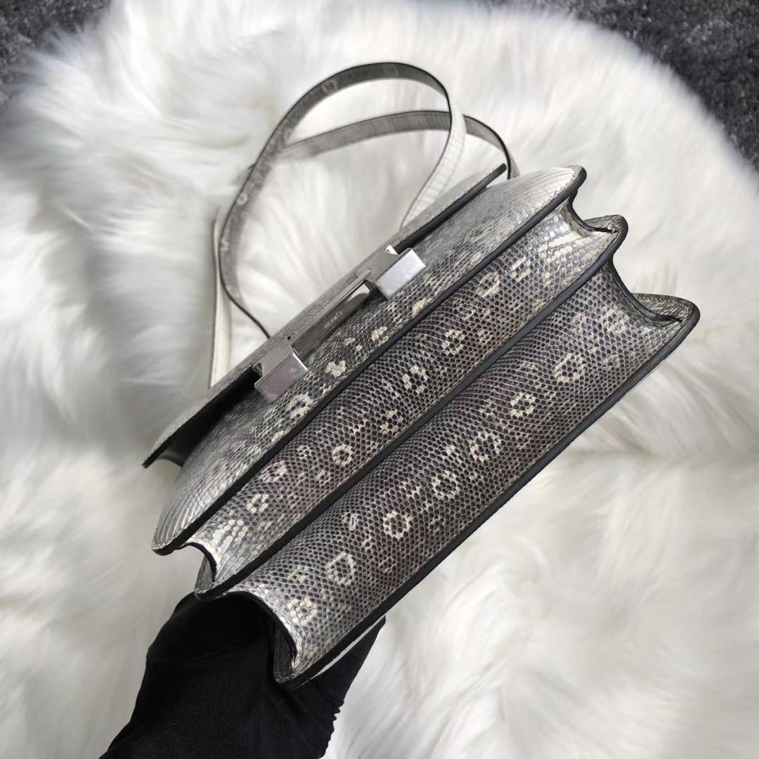 新北市八裏區愛馬仕包包 Hermes Constance 19cm Lizard 01雪花色蜥蜴皮