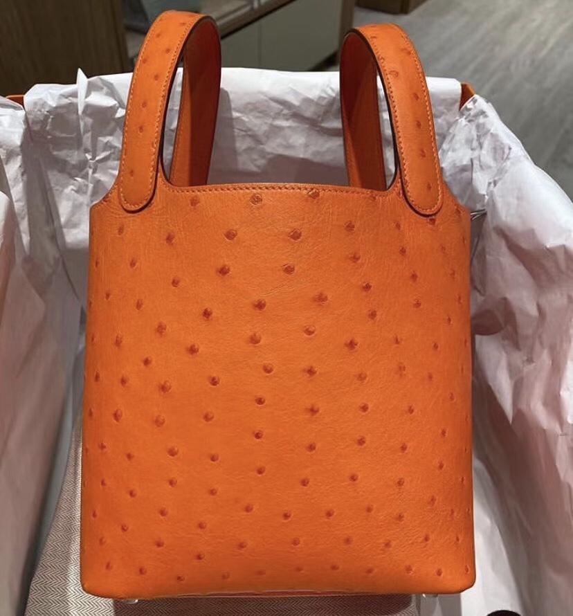 Taiwan Hermes Picotin Lock 18CM Ostrich 5K Tangerine 橘子紅鴕鳥皮