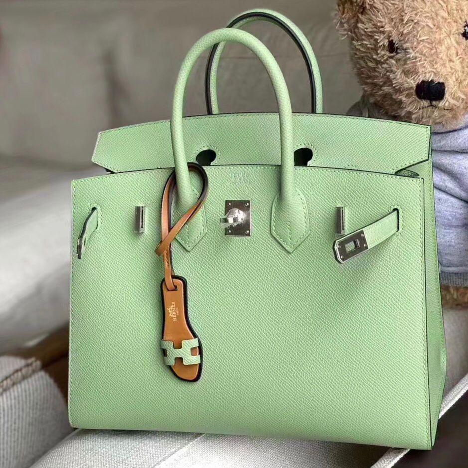 香港觀塘區鉑金包 Hong Kong Hermes Birkin 25cm 外缝 3I Vert Criquet 牛油果綠
