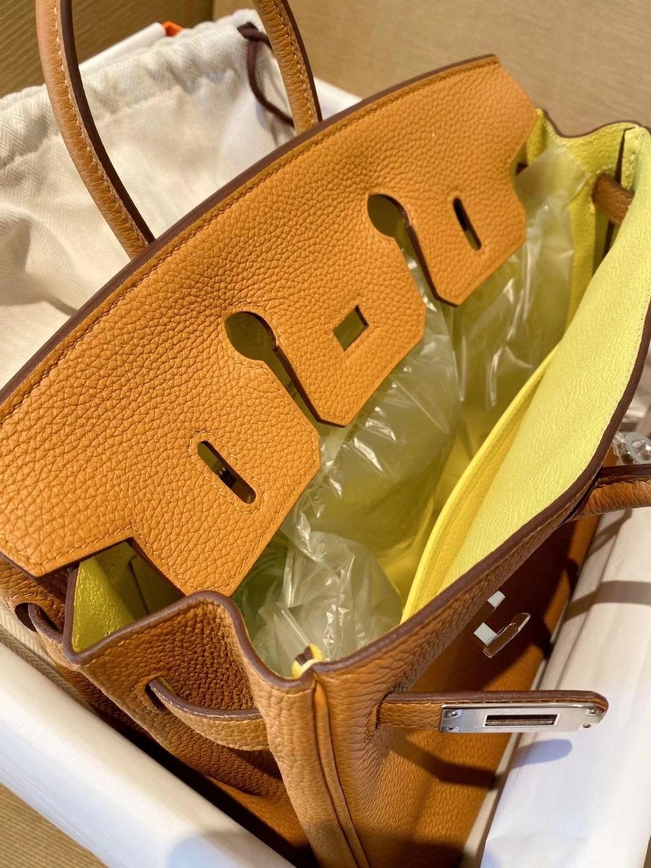 Taiwan Hermes Birkin 25cm Togo 2s芝麻色 sesame 內拼 9R Lime 檸檬黃