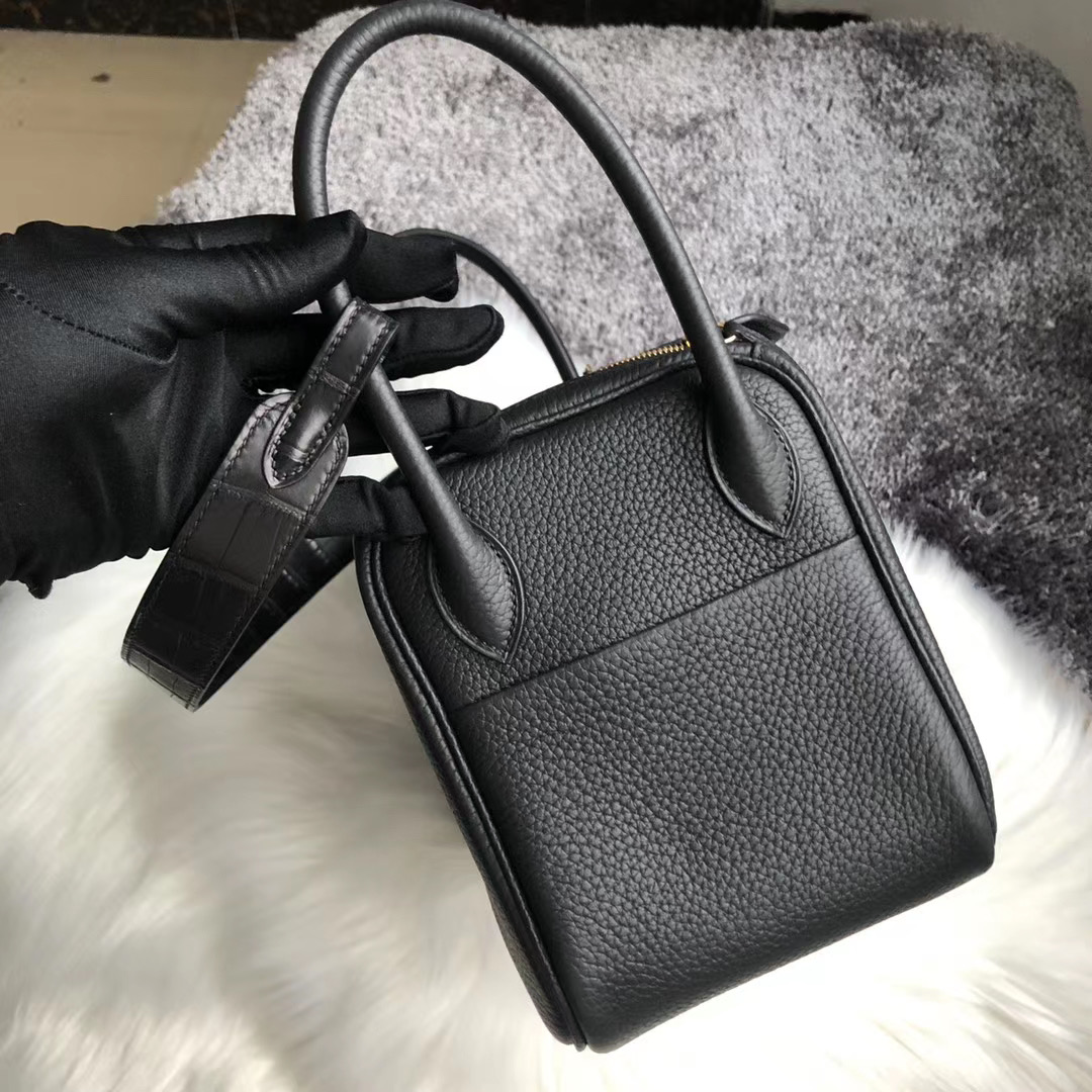 Taiwan Hermes Lindy 26cm Touch Clemence-Crocodile Straps Black