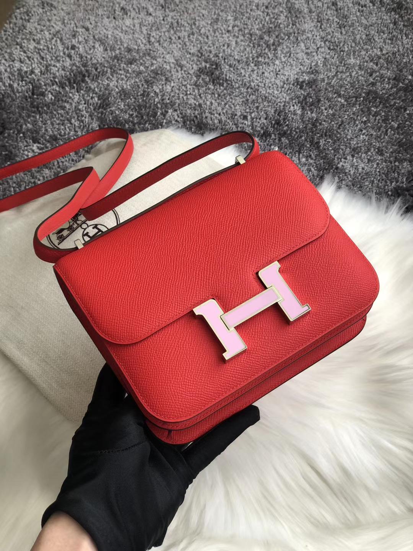 Hermes Constance 19cm S3 Rose de coeur心紅色配 X9 錦葵紫琺瑯扣